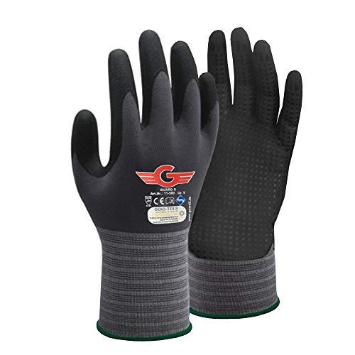 GUARD 5 Guantes de trabajo con puntos – 6 pares de guantes de montaje con revestimiento de nitrilo con agarre mejorado gracias a los puntos – resistentes y duraderos – Talla 9 L