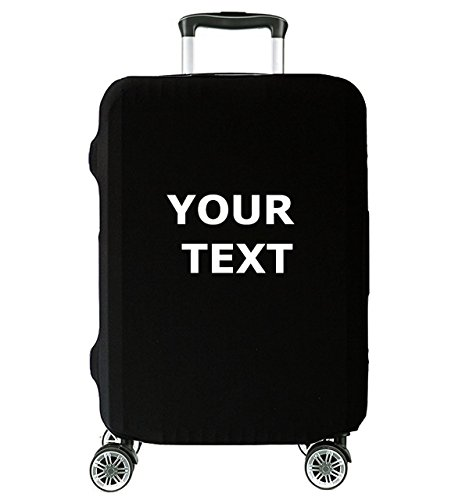 Custom Text Personalised Stylish Personalised Funny Cover for Suitcase Protector for Travel Luggage Black Elastic 27'- 30' 27'- 30' Your Own Text L [083]