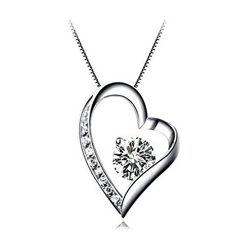 Kette Damen Halskette mit Herz Anhänger 925 Sterling Silber Zirkonia by Tasnunisa