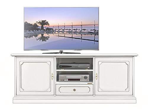 Mobile Porta TV/LED/LCD in Legno Laccato Bianco con Effetto Anticato, con 2 Ante in Legno e 2 Fori per Passaggio Cavi, Perfetto in Salotto o Cucina, Fatto a Mano in Italia, L.153 x H.60 x P.40 cm