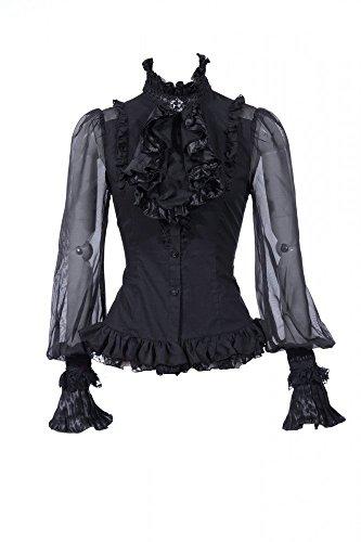 RQ-BL Viktorianische Langarm-Bluse inkl. Jabot mit BROSCHE - Farbauswahl (21094), Größe:M;Farbvariante:Schwarz