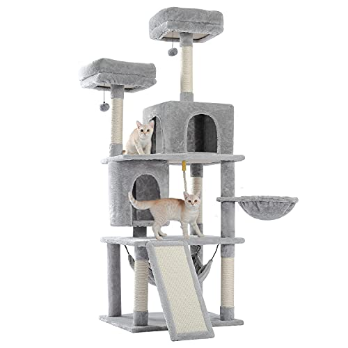 PAWZ Road Cat Tree 63 Inches Tall Cat Tower for Indoor Cat 6 Levels Cat Condo House with Hammock,...