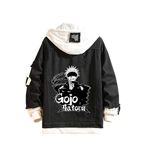 ZOSUO Giacca di Jeans Stampato Figura di Jujutsu Kaisen Felpa con Cappuccio Hoodies Autunno Primavera Outwear Gojo Satoru Cosplay Vintage Hoodie,M