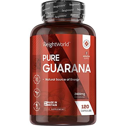 Guarana Kapseln - 2400mg reines Guarana Extrakt pro Tagesmenge - Natürliches Koffein für die Konzentration - Vegane Guaranasamen - Geprüfte Inhaltsstoffe - 2 Monate Vorrat - 120 Kapseln - WeightWorld