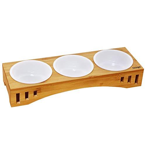 Petsoigné Katzennäpfe Hundenapf Katzenschüssel Set Keramik mit Bambus Unterstützung Für Katzen und Welpen (3 Näpfe, Keramik)