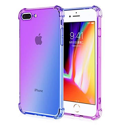 Adamarkeer - Carcasa para iPhone 6 Plus, iPhone 6S Plus, iPhone 7 Plus, Funda iPhone 8 Plus, diseño de arcoíris Degradado, Funda de Silicona TPU Ultrafina Transparente