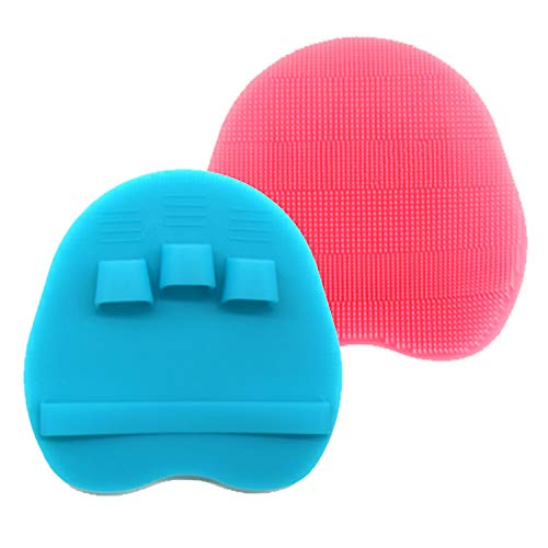 HieerBus Silicone Body Scrubber Brush,Bath Exfoliating Loofah Washing Sponge in Shower for All Kinds of Skins-Easy to Use and Clean,Well Lather and Quickly Dry (Pink With Blue)