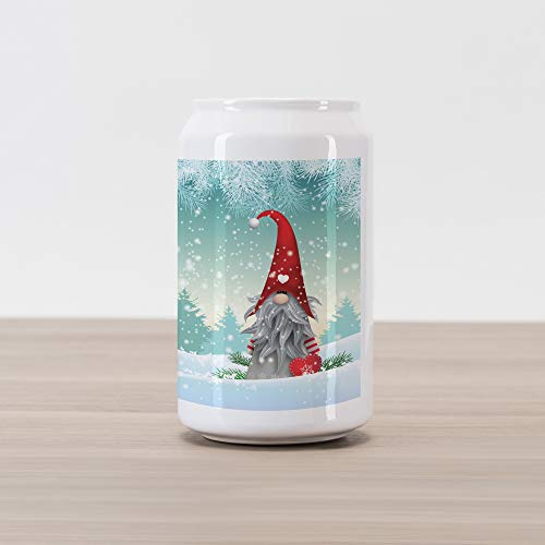 Ambesonne Gnome Cola Can Shape Piggy Bank, Elf Tomte Standing on Snow on The Winter Finnish Christmas Theme, Ceramic Cola Shaped Coin Box Money Bank for Cash Saving, Baby Blue Mint Green Vermilion