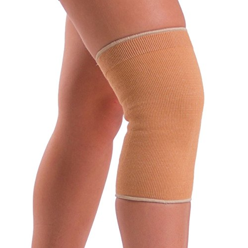BraceAbility Elastic Slip-on Knee Sleeve | Cotton Fabric Knee Pain Compression Bandage for Stretchy, Lightweight & Comfortable Support (2XL)