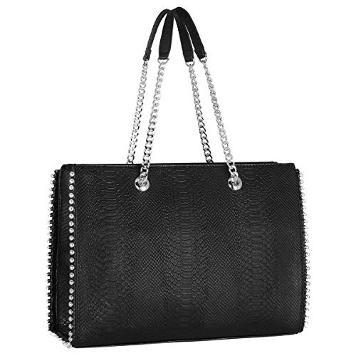 CRAZYCHIC - Borsa a Mano Borchie Rivetti Donna - Borsa Spalla Catena - Shopper Tote Stud Sacchetto PU Pelle - Shopping Bag Medium Capacità - Elegante Moda Tendenza Bella