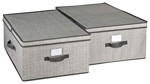 TOPP4u Aufbewahrungsbox groß mit Deckel 2er Set grau - Extra große Faltboxen ideal für Kleiderschrank - 40 x 50 x 25 cm - Faltbare große Verstaubox Ordnungsbox
