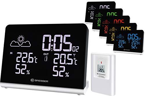 Bresser Wetterstation Funk mit Außensensor Temeo TB mit 256-Farben Display und Weckfunktion für die Anzeige von Temperatur und Luftfeuchtigkeit inklusive Wettertrendanzeige