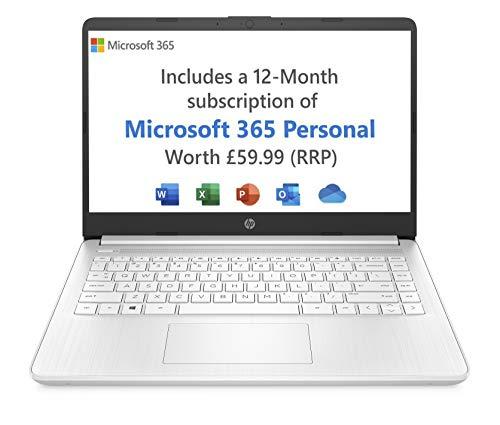 HP Stream 14s-fq0020na 14 Inch Laptop, White (AMD Athlon 3020e, 4 GB RAM, 64 GB eMMC, Windows 10 Home S) - Microsoft 365 (12 Month Free Subscription Included)