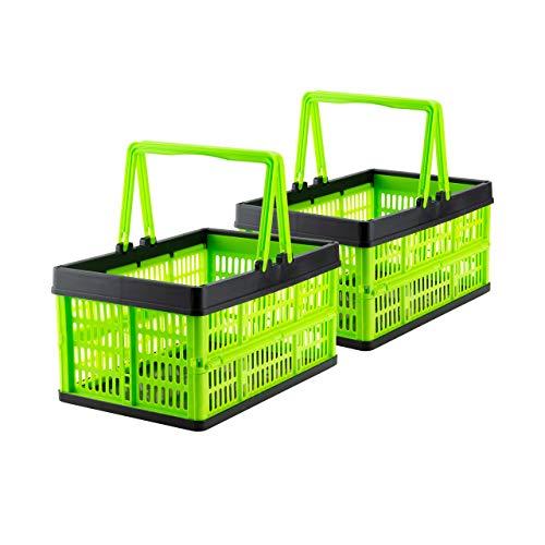 Grizzly 2 x Klappbox mit Griff - faltbar aus Kunststoff - Einkaufskiste klappbar und stapelbar 16L grün