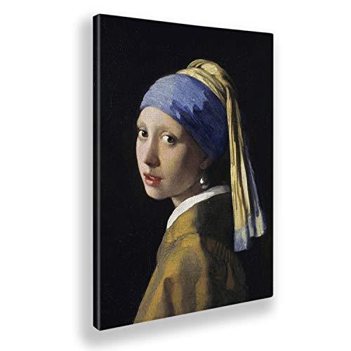 Giallobus - Quadro - Jan Vermeer - La Ragazza con l'orecchino di Perla - Tela Canvas - 100x140 - Pronto da Appendere - Quadri Moderni per la casa