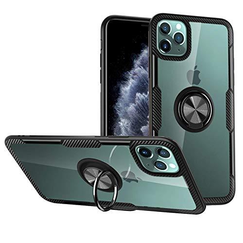 iPhone 11 Pro ケース リング付き 360度回転 スタンド機能 背面強化ガラス 透明 磁気カーマウント マグネット式 車載ホルダー 擦り傷防止 落下防止 iPhone 11 Pro 専用 保護カバー (ブラック)