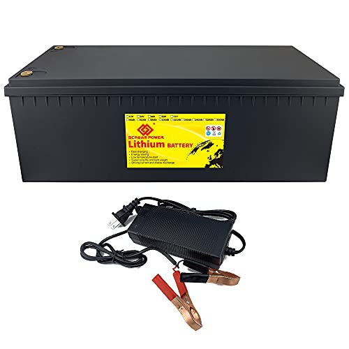 SCREAMPOWER 12V 400AH Lithium Iron Phosphate Battery Deep Cycles 3000~7000 Cycles with BMS Perfect for RV Golf Cart Solar Power Camping Boat Emergency Power Supply Ten-Year Life Span 10A Charger ABS