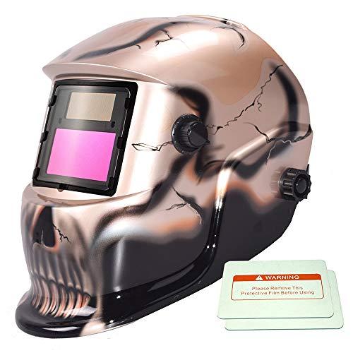 iMeshbean Pro Cool Skull Style Solar Auto-darkening Welding & Grinding Arc Tig Mig Helmet Adjustable Shade 9-13 with 2 Pcs Extra Lens Covers #1052