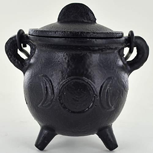Kessel aus Gusseisen, mittelgroß, Triadenmond, klein, Hexe und Magie, Zubehör für Wicca-Tränke, Neopaganismus, Geschenk