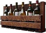 Inicio Equipo Estante para vinos Soporte alto creativo |Botellero de pared |Estante de vino de madera maciza Soporte para el hogar Soporte de exhibición Soporte para botella de vino 70X13X35Cm A