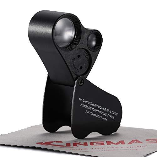KINGMAS Illuminated Jewelry Eye Loupe 2 Lens 30x 22mm 60x 12mm Jewelers Magnifier Magnifying with LED Lighting (Black)