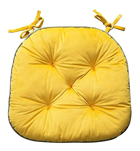Zceras Plush Thick Dining Chair Cushion, Office Sedentary Winter Chair Cushion Chair Cushion Student with Tie Rope Home Decoration, 42x40cm, Many Colors to Choose from Cushion (Color : Yellow)