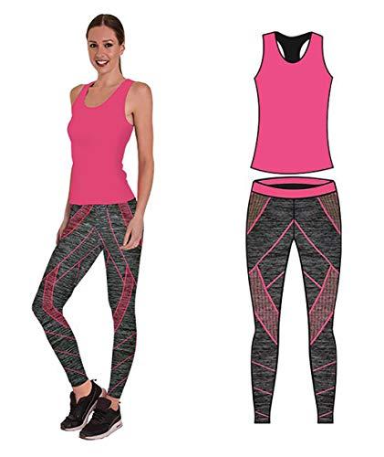 Bonjour - Abbigliamento sportivo da donna/canotta e leggings (set da 2 pezzi, top e leggings), set da palestra o per yoga, elasticizzato, Pink Technical Vest Top, One Size ( UK 8 - 14 )