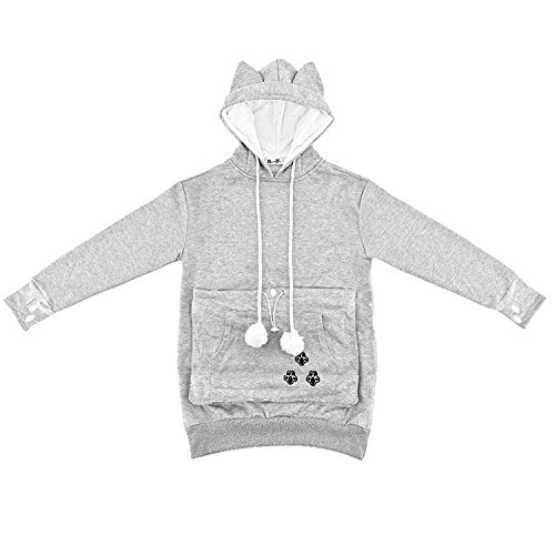 NeuFashion Unisex Mewgaroo Pet Holder Cat Eared kangaroo Pouch Sweatshirt Hoodie