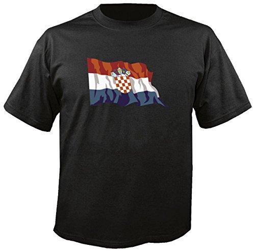 T-Shirt für Fußball LS42 Ländershirt XXL Mehrfarbig Croatia - Kroatien mit Fahne/Flagge - Fanshirt - Fasching - Geschenk - Fasching - Sportshirt schwarz