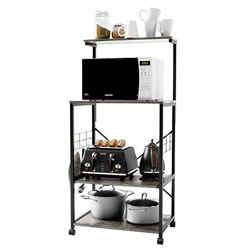 Bestier Kitchen Baker's Rack Utility Storage Shelf Microwave Stand Cart on Wheels with Side Hooks, Kitchen Organizer Rack 4 Tier Shelves Adjustable Feet P2 Wood (Grey)