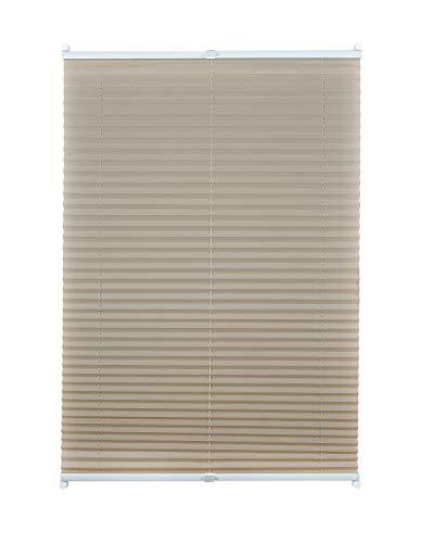 Plissee ohne Bohren viele Farben mit Klemmträger Sichtschutz Sonnenschutz für Fenster und Tür Beige 50x130 cm