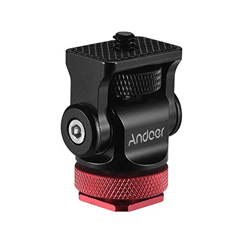 Andoer 180°Mini Kugelkopf Montageadapter Blitzschuh Calient 1/4 Zoll Schraube mit Schlüssel für DSLR Kamera Mikrofon LED Video Stativ Monitor Monopod