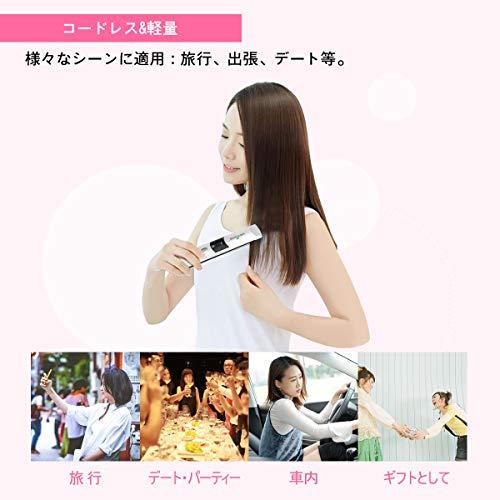 KEYNICEヘアアイロンコードレスストレートカール2wayミニUSB充電式165/185/205℃三段階温度設定可能自動OFFホワイト日本語説明書付き