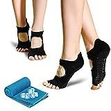 unisoul Calcetines Yoga Antideslizantes Mujer,2 Pares Calcetines de Yoga Pilates Y 1...