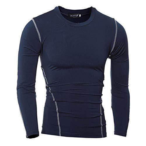 Camiseta Deportiva Informal para Hombre, Medias de Secado rápido de Color sólido, Mangas largas-Navy_Blue_2XL