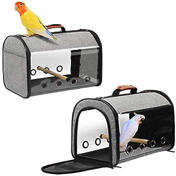 HLONGG Sac Voyage Cage De Transport Oiseau Respirant Porte-Cage Voyage avec Double Fermeture Éclair Ouverte en Porte-Oiseau Motif Perforé Ventilé,Gris