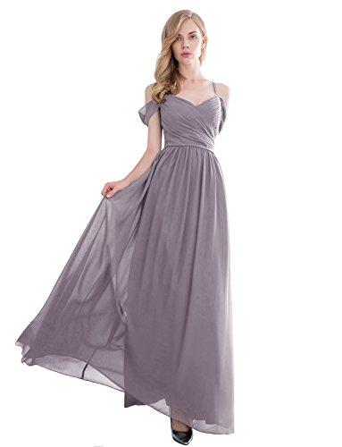 Gardenwed Women's Off-The-Shoulder Long Chiffon Bridesmaid Dress Semi-Formal Maxi Prom Dress Darkgrey-Size 16