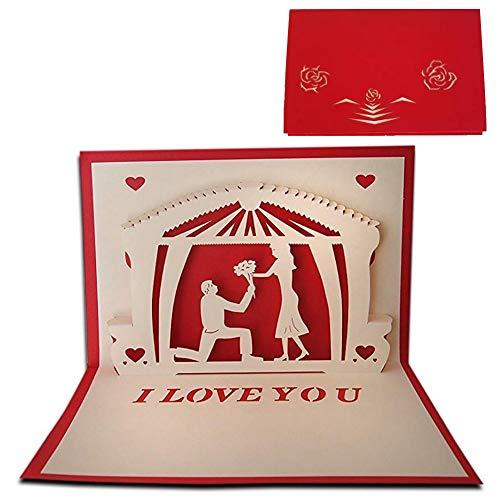 DIWULI, 3D-Karte mit Umschlag, 3D Pop-Up Karte, Grußkarte für Hochzeit, Heiratsantrag, Verlobung, Geburtstag, Valentinstag, Hochzeitskarte, Klappkarte, originelle Glückwunschkarte, Liebe, Paar, Blumen