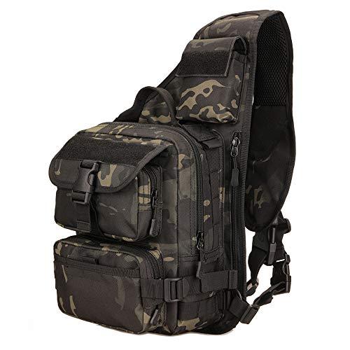 YFNT Tactical Sling Bag Pack Militare Rover Spalla Zaino a Tracolla per Caccia Campeggio Trekking (Camuffamento Notturno)