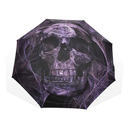 LASINSU Paraguas Resistente a la Intemperie,protección UV,Tema Negro Cráneo Oscuro púrpura con patrón de Smog Punk y adivinación