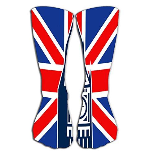 winterwang Medias de tubo para mujer, calcetines deportivos atlticos de 50 cm, bandera britnica de la unin britnica del big ben de londres