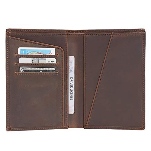 Polare Men's Functional RFID Blocking Leather Passport Holder Travel Bifold Wallet
