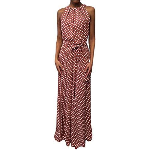 LOPILY Damen Kleid Gepunktes Langes Kleid Neckholder Wickelkleid Frauen Dot Printed Kleid für Freizeit Stilvolles Satin Partykleid Tunika Maxikleid Business Casual Kleid (Rot, DE-42/CN-XL)