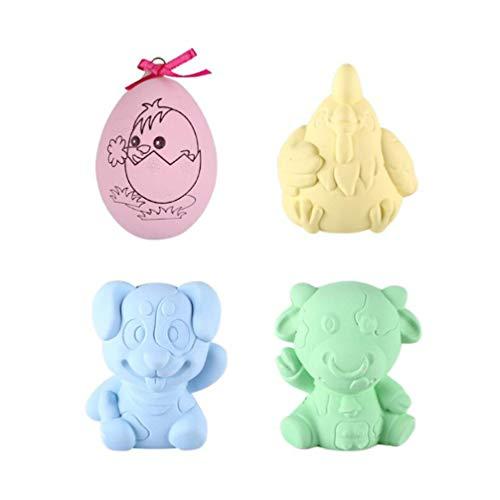 Amosfun figuritas Animales Pintar Huevo Modelo de Juguete para niño Graffiti niño Pintura 2 Sets