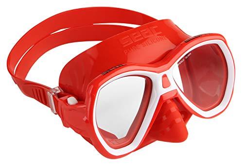 Máscara suave júnior Elba de Seac diseñada para la práctica de la natación y el esnórquel, y fabricada en silicona a partir de 5 colores diferentes con doble lente