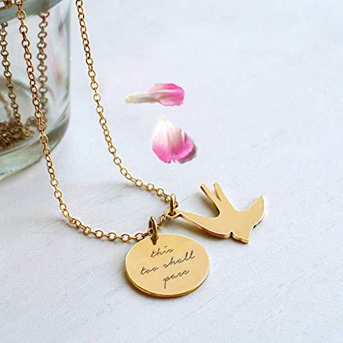 Oro Personalizzato 'this too shall pass' (anche questo deve passare) Disco e Collana di Rondine, regalo personalizzato, regalo motivazionale, collana di rondine, regalo di compleanno