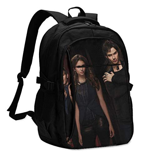 The Vam-pi-re Di-Aries Da-mon Sal-va-Tore Water Resistant Travel Laptop Backpack Anti-Theft Business Daypack Casual Book Bag for Adults Teens College School Hiking Work Shoulder Bags 18 in