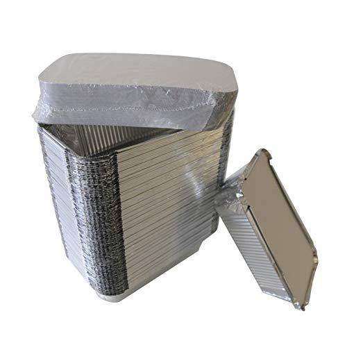 Générique – Lote de 100 recipientes de aluminio con tapa de cartón – Caja alimentaria desechable – Bandeja para alimentos, comida y congelador – 670 y 930 ml – Reciclable (670 ml)