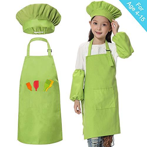 Kids Chefs Schürze Set Kochmütze Ärmel Schürzen für Kids-Boys Mädchen Einstellbare Kinderküche Kochen und Backen Wear (6-12 Jahre alt)