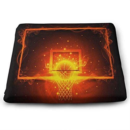 ADGoods Quadratisches Sitzkissen Square Seat Cushions Basketball and Fire Premium Comfort Memory Foam Kitchen Chairs Pad for Office,Kitchen,Travel,Car